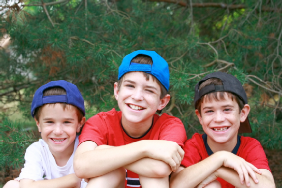 Three Boys in Baseball Hats