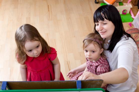 Prepare to school series. Mother teaching her daughters